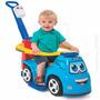 Mini Veiculo Passeio Bebe 3 Em 1 Som Big Truck Policia Azul
