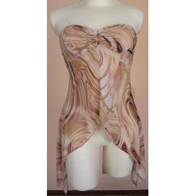 Strapless Blusa Asimétrica Color Capuchino Talla M Bl1394