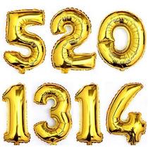 Balão De Número Dourado Gigante - Flutua Com Gás Hélio