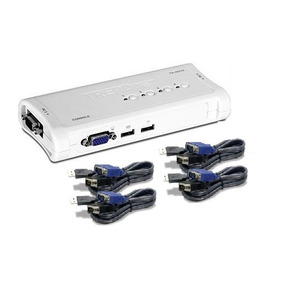 Kvm Data Switch Usb 4port Trendnet Tk-407k Vga Incluye Cable