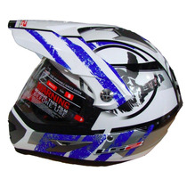 Casco Ls2 Mx433 Cross Con Visor Stripe Withe Blu Devotobikes