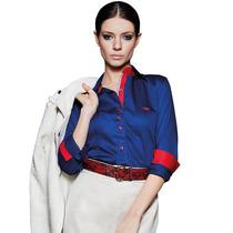 Camisa Social Feminina Azul Executiva Principessa Brigite