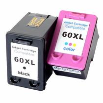 Kit Cartucho Hp 60xl Color E Preto Compatível
