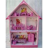 Casita Muñecas Barbie, Pintada, Decorada Con Muebles