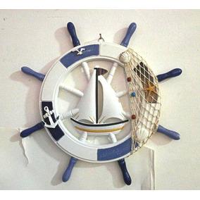 Timão Madeira Decorativo Com Barco Impecaveis Adornos