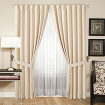 Juego De Cortinas Doble, Blackout Textil+voile Transparente