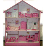 Casita De Muñecas, Barbie, Pintada Y Decorada Con Muebles