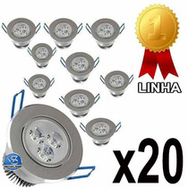 Kit 20 Spot Led 3w Lampada Dicroica Direcionavel Sanca Gesso