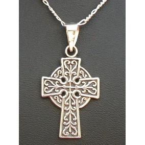 Cadena Y Dije Amuleto Cruz Celta Para Tu Proteccion En Plata