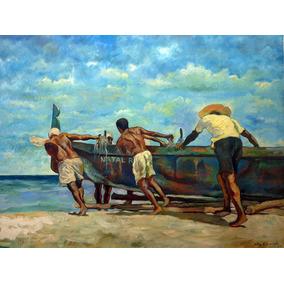 Quadro Pintura Óleo Tela Decorativo Paisagem Acrílico Marinh