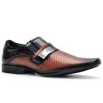 Sapato Nevano 5143 Masculino Flexível Couro Verniz Confort