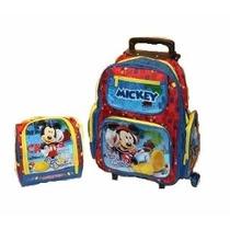 Kit Mochila Infantil Escolar Rodinhas Mickey + Lancheira