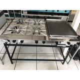 Cocina Industrial Plancha C/4 Quemadores Acero Inox A Gas
