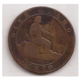 España Antigua Moneda De 10 Centimos Año 1870