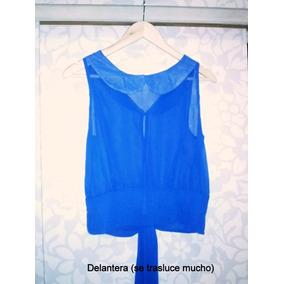 Blusa Azul Rey Gasa Con Boton Metálico Y Amarras Traseras