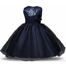 Vestido Infantil De Fiesta Azul Prusiacon Lentejuelas Y Flor