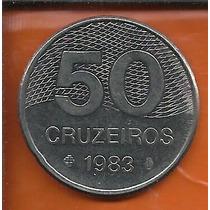 Moeda 50 Cruzeiros 1983 - Aço Inox Plano Piloto De Brasília