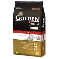 Kit 3 Ração Golden Para Gatos Adultos Sabor Carne 3kg Cada