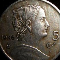 Moneda 5 Centavos 1950 Cupro Niquel Josefa Blanca