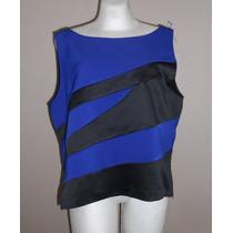 Sag Harbor!! Moderna Blusa Azul Con Negro, Talla 18w!!!