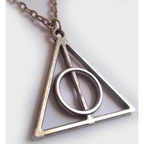 Colar Pingente Harry Potter Relíquias Da Morte Cor Prateado
