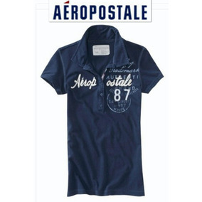 Playera M Aeropostale Henley Polo Dama Mediana Azul Logos Ve