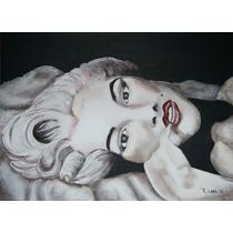 Pintura De Marilyn En Madera, Hecha A Mano En Acrílico Maa
