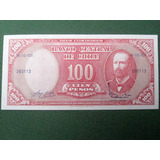 Billete Chileno 100 Pesos Remarcado 10 Cent Escudos 1960