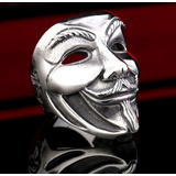 Anel V De Vingança Prata Punk Atitude Mascara