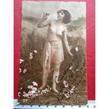 Antiguo Semi Desnudo Foto Postal Erótica 1920