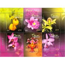 Gcg Timbre Con 6 Estampillas Flora De Mexico Orquideas Rym