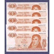 1 Pesos Ley 5 Billetes Nuevos Sin Circular Correlativos