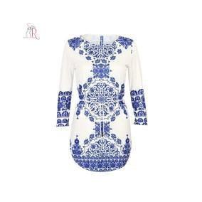 Vestido Corto Blanco Con Azul Manga Larga Casual Fiesta Japo