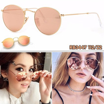 Gafas De Sol Ray Ban Rb3447 112/z2 Rosa Espejo Round Metal