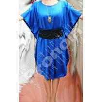 Vestido Lycra Azul Con Cinturón. Diseño De Autor