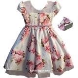 Vestido Princesa Festa Luxo Floral Carinha De Anjo E Tiara