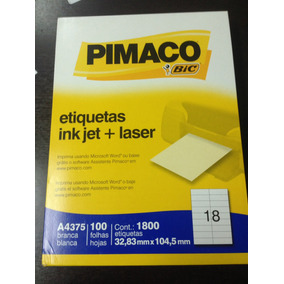 Etiquetas Ink Jet Pimaco A4375 1800 Etiquetas