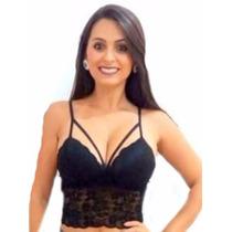 Cropped Renda Tiras Com Bojo Blusa Top Sutiã Moda Blogueiras