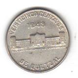 25 Centavos 1943 Plata Moneda Guatemala Palacio Nacional