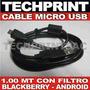 Cable Micro Usb Con Filtro Celular Blackberry Android Chino