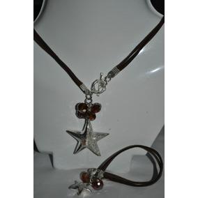 Collar Y Pulsera De Cristal Y Gamusa Oso, Flor Estrella Flr