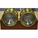 Reloj Y Barometro De Barco Tiffany & Co Con Base De Madera
