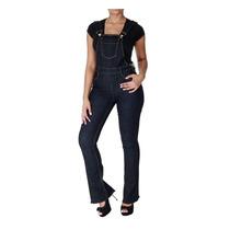 Macacao Jeans Sawary Modelo Flare Elastano Frete Gratis