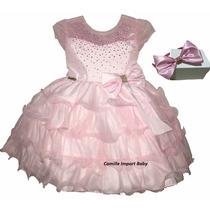 Vestido Infantil Luxo Dama De Honra E Minnie Rosa Com Tiara