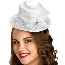 White Satin Mini Sombrero Con Velo De Plata Del Traje De Ha