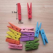 50 Mini Broches Madera 3.5x1cm Colores Souvenir Almagro