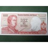 Billete Chileno 10000 Escudos 1962-76 Sin Circular
