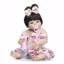 Boneca Bebe Reborn Angelina - Silicone, Toda Em Vinil - Real