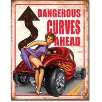 Poster Lamina Hot Rod Pin Up Curvas Peligrosas Vintage Retro