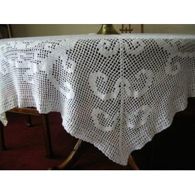 Mantel Crochet Blanco Redondo Fino Vajilla Navidad